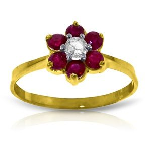14K. SOLID GOLD RING WITH NATURAL DIAMOND & RUBIES